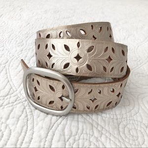 Fossil Pewter Metallic Perforated Leather Belt